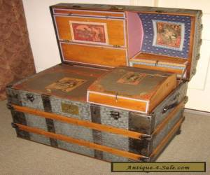 ANTIQUE STEAMER TRUNK VINTAGE VICTORIAN DOME TOP WEDDING OR BRIDES TRAVEL CHEST for Sale