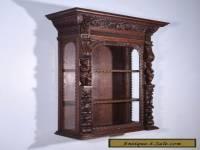 Antique French Renaissance Revival Display Wall Cabinet in Oak