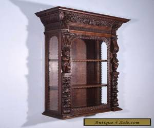 Antique French Renaissance Revival Display Wall Cabinet in Oak for Sale