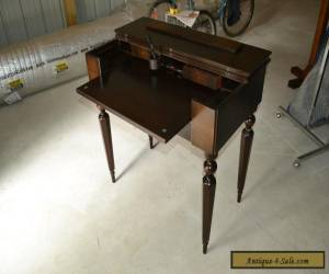 Antique Mahogany Wood Secretary Lady's Writing Desk Flip-Top Table Neoclassical for Sale