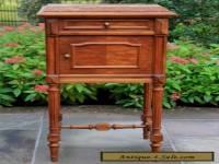 Antique French Henri II Walnut Marble Top Side Cabinet Nightstand End Table