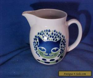 "1960s ARABIA Pottery FINLAND 5"" PITCHER with SMILING CAT Design for Sale"