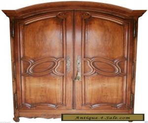 1700s FRENCH LOUIS XV SOLID CARVED WALNUT ARMOIRE CABINET ENTERTAINMENT CTR for Sale