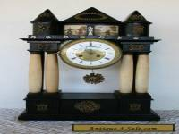 Antique Austrian Alabaster Column Clock -Late Biedermeier 1830