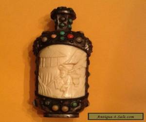 Antique Chinese Snuff Bottle Carved Brass with Stones for Sale