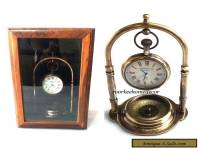 Nautical Vintage Replica Brass Hanging Clock With Mirror Sheesham Wooden Box