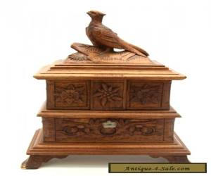 Antique Victorian Black Forest Carved Wooden Jewelry Box Bird Swiss Geneve for Sale