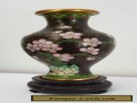 Cloisonne Vase on Wooden Stand