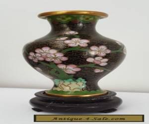 Cloisonne Vase on Wooden Stand for Sale