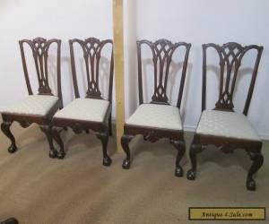 56877 Set 4 Antique Chippendale Dining Chairs Chair s for Sale