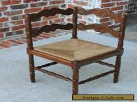 Antique French Oak Small Ladder Back Farmhouse Corner Chair Rush Seat (1 of 2)