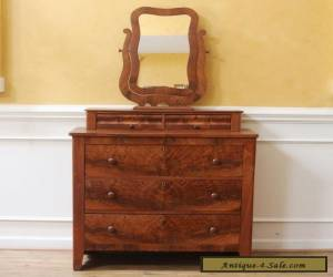 Antique Empire Dresser, Chest of Drawers, Mirror Top, American C.1880 for Sale