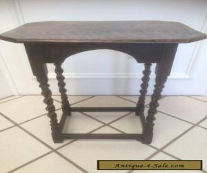 ANTIQUE VINTAGE ENGLISH JACOBEAN STYLE OAK BARLEY TWIST SMALL TEA WINE END TABLE for Sale