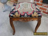 Antique FRENCH Carved Walnut Louis XV  Stool Bench Footstool Aubusson Tapestry