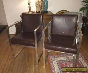 Pair Mid Century Modern Brown Leather Lounge Chairs - Milo Baughman Era for Sale