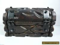 Antique Hand Carved Large Treasure Chest Pirate Heavy Solid Wood Trinket Box