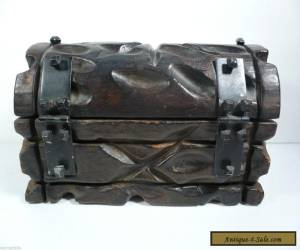 Antique Hand Carved Large Treasure Chest Pirate Heavy Solid Wood Trinket Box for Sale