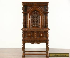 English Tudor 1925 Antique Carved Oak China or Bar Cabinet for Sale