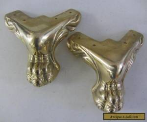 2 Brass Lion Paw Claw Feet Vintage Style Furniture Table Chest for Sale