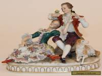 SITZENDORF GERMAN PORCELAIN FIGURAL GROUP FIGURINE COUPLE & SHEEP