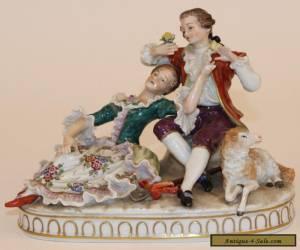 SITZENDORF GERMAN PORCELAIN FIGURAL GROUP FIGURINE COUPLE & SHEEP for Sale