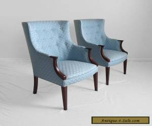 2 antique 1940s mahogany petite ladies wing chairs regency art deco mid century for Sale