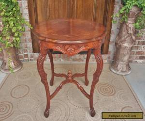 ANTIQUE FRENCH LOUIS XVI STYLE CARVED MAHOGANY TABLE BURLED MARQUETRY INLAID TOP for Sale