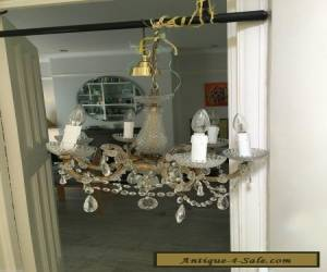 antique vintage  brass and cut glass crystals chandelier  for Sale