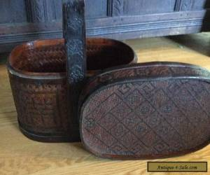 Antique Chinese Woven Basket with Carved Handle for Sale