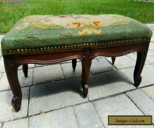 Antique  French Louis XV style 6 leg carved needlepoint footstool ottoman  for Sale