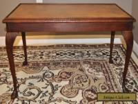 ATTRACTIVE VINTAGE LEATHER TOP MAHOGANY COFFEE TABLE, LONG OCCASIONAL END TABLE