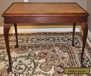 ATTRACTIVE VINTAGE LEATHER TOP MAHOGANY COFFEE TABLE, LONG OCCASIONAL END TABLE for Sale