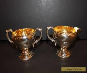 Antique Sterling Silver JWW Sugar Bowl & Creamer Set Vintage for Sale