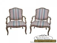 Vintage Pair of French Louis XV Style Painted Arm Chairs