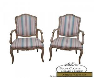 Vintage Pair of French Louis XV Style Painted Arm Chairs for Sale