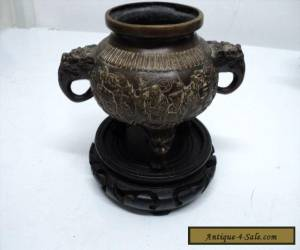 SMALL ANTIQUE CHINESE BRONZE CENSER - IMPRESSED MARK WITH A STAND for Sale