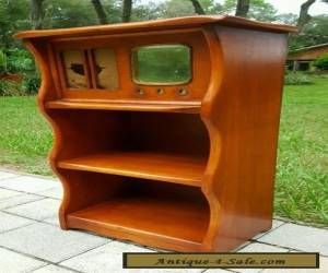 VINTAGE ANTIQUE MId Century WOOD RADIO CABINET BOOKSHELF STAND for Sale