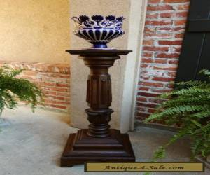 Antique French Carved Oak Pedestal Plant Stand Renaissance Bronze Display Table for Sale