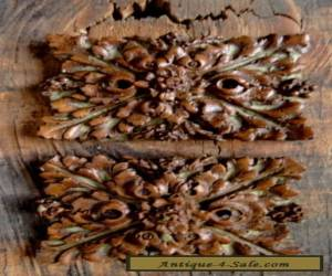 TWO VINTAGE OLD STOCK ANTIQUE RESTORATION ROSETTES LINKE FRENCH FURNITURE WOOD for Sale