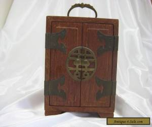 VINTAGE ANTIQUE ROSEWOOD CHINESE ASIAN WOOD AND BRASS JEWELRY BOX  for Sale