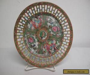 """Chinese Famille Rose Medallion Reticulated Open Lace Porcelain Plate, 7.25""""  for Sale"""