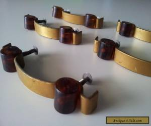 ART DECO Cabinet / Drawer Handles - Butterscotch and Bronze x 5 for Sale