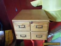 Vintage Wooden INDEX Storage Box  X 4 OAK  Wood .