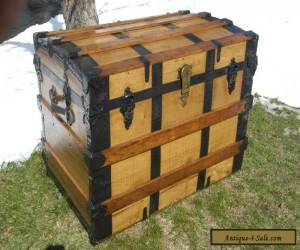 Antique Victorian Steamer Trunk Wood Oak Slats Chest Coffee Table Tray Furniture for Sale