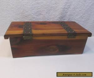 Vintage Small Cedar Box with Metal Hinge Straps for Sale