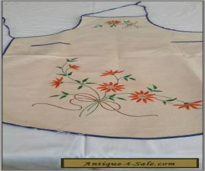 VINTAGE 1930S CALICO EMBROIDERED APRON for Sale