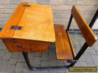 Vintage / antique wooden Child's School Desk. Integrated chair design.