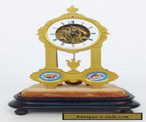 Rare Beautiful Quality Antique French Ormolu & Blue Sevres Skeleton Table Clock for Sale