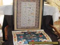Vintage Chinese hand embroidered & KESI silk PANEL & pillowcase