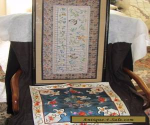 Vintage Chinese hand embroidered & KESI silk PANEL & pillowcase for Sale